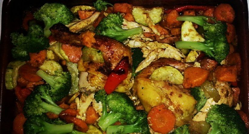 Masala kip met groenten en batata
